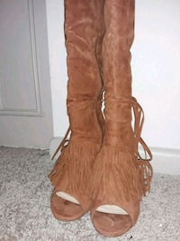 brown faux suede thigh-high fringe size 7 1/2 Roswell, 30076