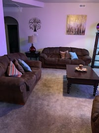 Brown fabric 3-seat sofa with lamp and decorations . Spartanburg, 29301