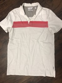 Men's-White and red stripe polo shirt Reedley, 93654