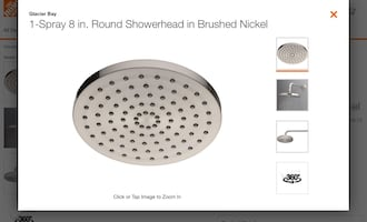 "8"" Replacement Shower Head Brushed Nickel Finish"