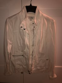 Off White Denim Guess Zip-up Jacket - Large