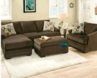 brown suede sectional sofa with ottoman Columbus, 43228