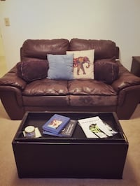 Brown leather 2-seat sofa and side table
