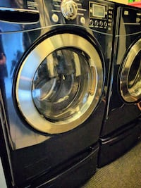 black front-load clothes washer and dryer set Ontario