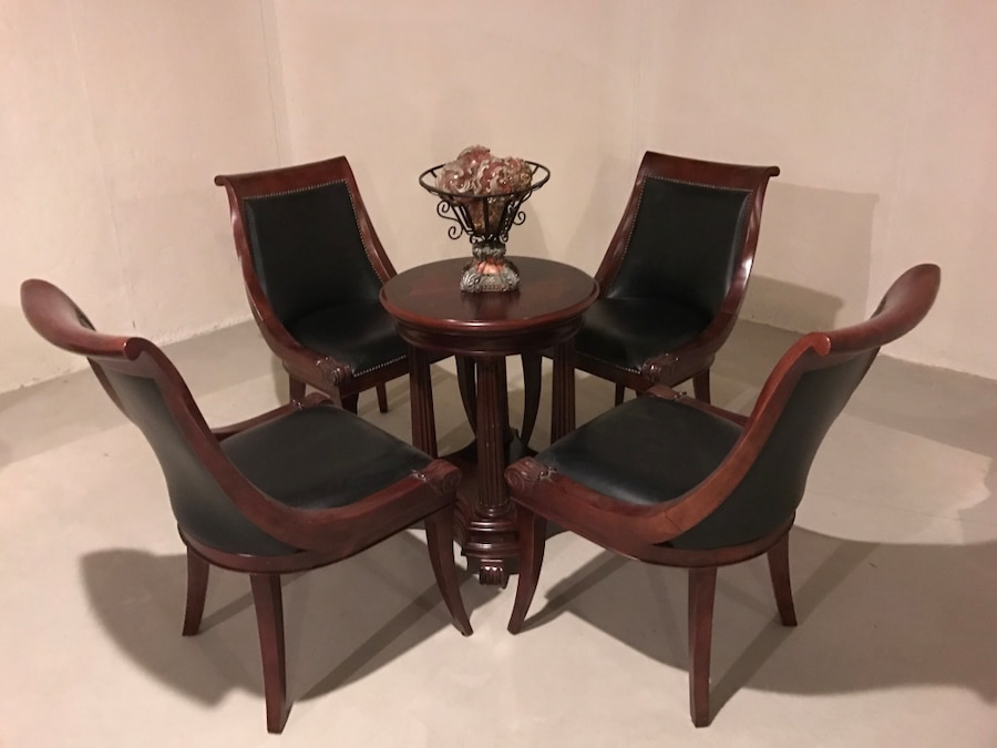 Black leather padded wooden frame 5-piece dining set