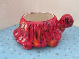 Rare Vintage Red Lava Style Ceramic Turtle Kitchen Sink Sponge Holder