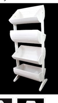6ft tall white wood barrel shelf  Stockton