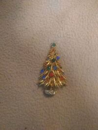 Vintage goldstone Christmas tree pin Beech Grove, 46107