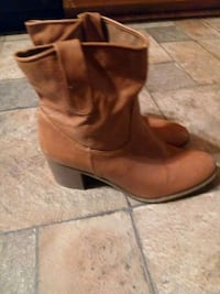 pair of  brown leather chunky heeled boots Edgewood, 21040
