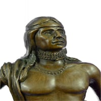 Native Indian Prince Bronze Sculpture on Marble Base Figurine (14X5 Inches)
