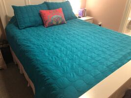 Queen coverlet and shams and throw pillow, matching shower curtain