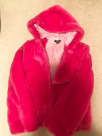 GUESS Faux Fur Hooded Pink Coat