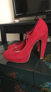 Red suede almond-toe platform mary jane chunky heels