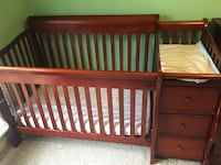 Baby crib armoire dresser furniture cherry wood nursery