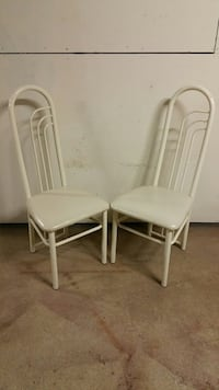 HIGH-BACK, CUSHIONED, METAL DINING CHAIRS (2) - Sale is for the PAIR only.  (Pls. see all photos.) Arlington, 22204