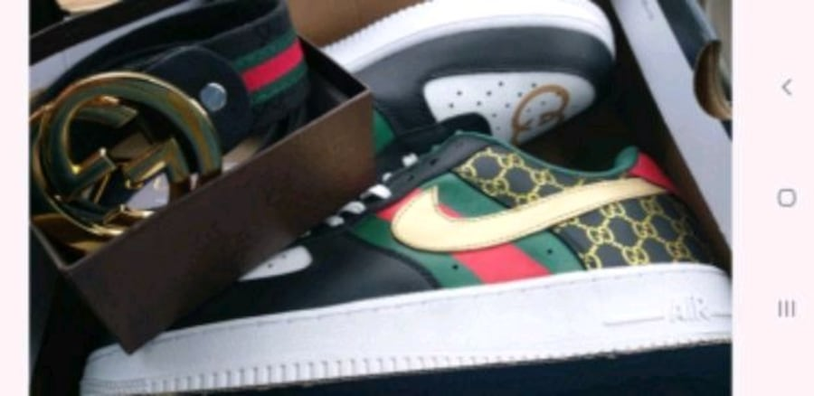 Sold New Nike Air Force 1 Custom Gucci And Gucci Belt In Valdosta