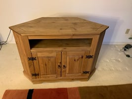 Real wood corner entertainment/tv stand