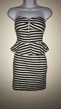Small women's black and white striped strapless mini dress