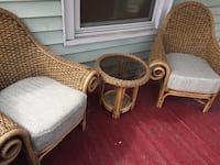 two brown wicker armchairs with white pads Schenectady, 12304