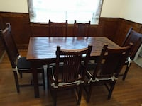Mission Style Solid Wood Dining Kitchen Table and Six Chairs TORONTO