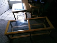 Real oak wood/ glass top coffee table & end tables 354 mi