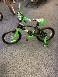 "New Green/Black Surge 18"" Bike With Training Wheels"