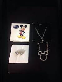 2007 Disney Mickey Mouse Stud Earrings and Necklace  (never worn)Adorable!! Mickey mouse Stud Earrings for little, big girls or adults3 Little Rhinestones make up the Mickey Mouse shape Earring Very Cute-Wear alone or with other earrings Nickel-free for  Pembroke Pines, 33026