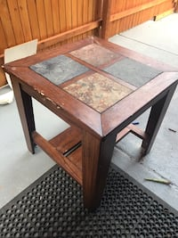 Solid wood w/stone end table  43 km
