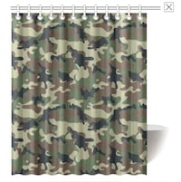 Camouflauge Shower Curtain and hooks. Calgary, T2R 0Z9