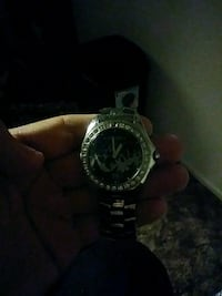 round silver chronograph watch with link bracelet Redding, 96003
