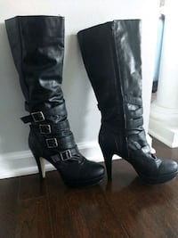 pair of black leather knee high boots Upper Marlboro, 20772