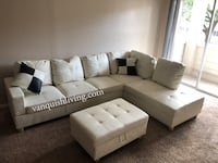 NEW White Leather Sectional 2 Pillows & Storage Ottoman.  Pearland, 77581