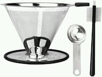 Stainless Steel Pour Over Coffee Filter Maker with Spoon and Brush  San Jose, 95132