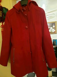 Red button-up coat