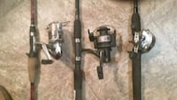 Fishing gear. 3 rods and reels, 2 tackle boxes, 100 lures, net, line,  Edmonton, T5H