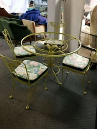 round glass top table with four chairs dining set Manassas