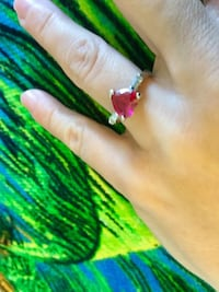 Ruby red Heart gemstone ring Sterling Silver 925 stamped / Ring size #5 Alexandria, 22311