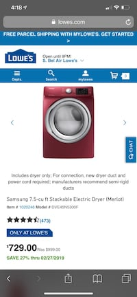 Samsung front load washer dryer set with 1 year warranty  Arlington, 22205
