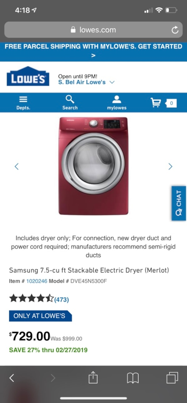 Samsung front load washer dryer set with 1 year warranty  5e91abed-46c5-4471-b557-64c337fa59e6
