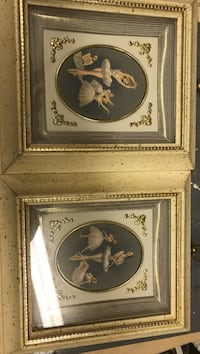 two brass-frame painting of ballerinas