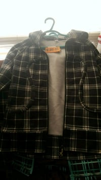 black and white plaid button up jacket