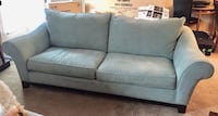 Large blue suede couch