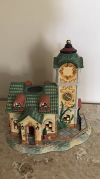Partylite green and brown ceramic house figurine Bristow, 20136