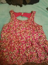 women's pink and beige floral sleeveless dress