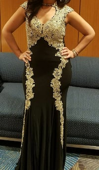 gold/black lace maxi dress Springfield, 22151