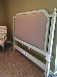 white and pink wooden bed headboard