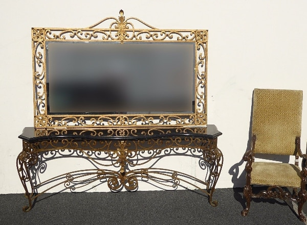 Details About Vintage French Provincial Gold Wrought Iron Mirror