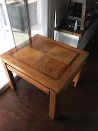"""28"""" x 24"""" end table. Superficial wear on top, but still a sturdy, solid table. San Marcos, 92078"""