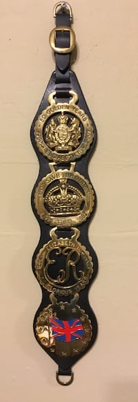 HRH Queen's Jubilee Horse Brass Badges on Black Leather