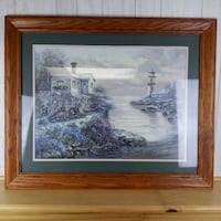 Large Matted Framed Lighthouse Point River Beach Lake House Painting Madison
